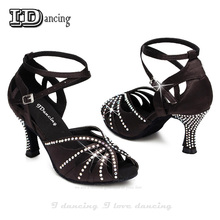 Rhinestone Dance Shoes Latin Ballroom Salsa Dancing For Women Tango Sexy High Heel 8cm JuseDanc