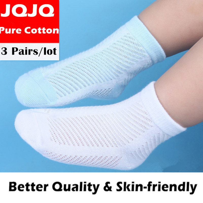 3 Pairs  Children Short Socks 1 To 7 Years Old Thin Pure Cotton Eroupean Size