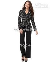Дизайнер Для женщин Костюмы пользовательские костюм клетчатая куртка + черные брюки 484