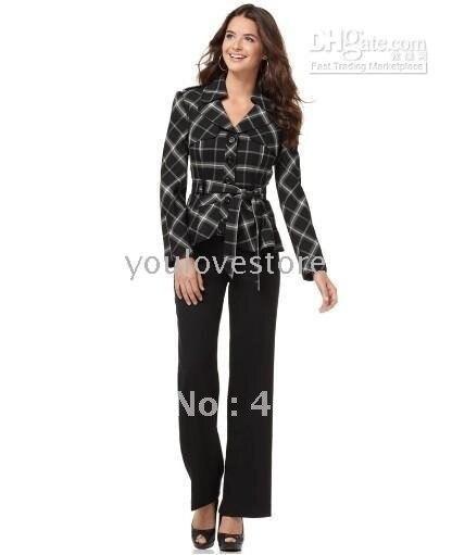 Designer Women Suits Custom Suit Plaid Jacket+Black Pants 484