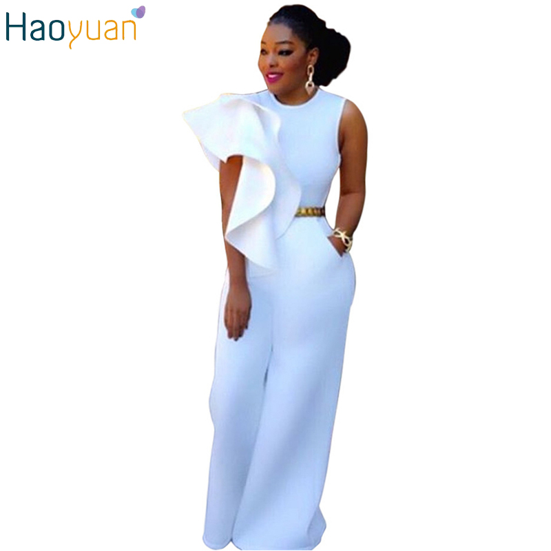 Haoyuan Fashion Plus Size Rompers White Sleeveless Womens Wide Leg