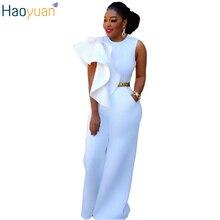 Haoyuan мода плюс Размеры Комбинезон белого цвета без рукавов женские широкую ногу комбинезон 2017 длинные брюки элегантный комбинезон Macacao Feminino