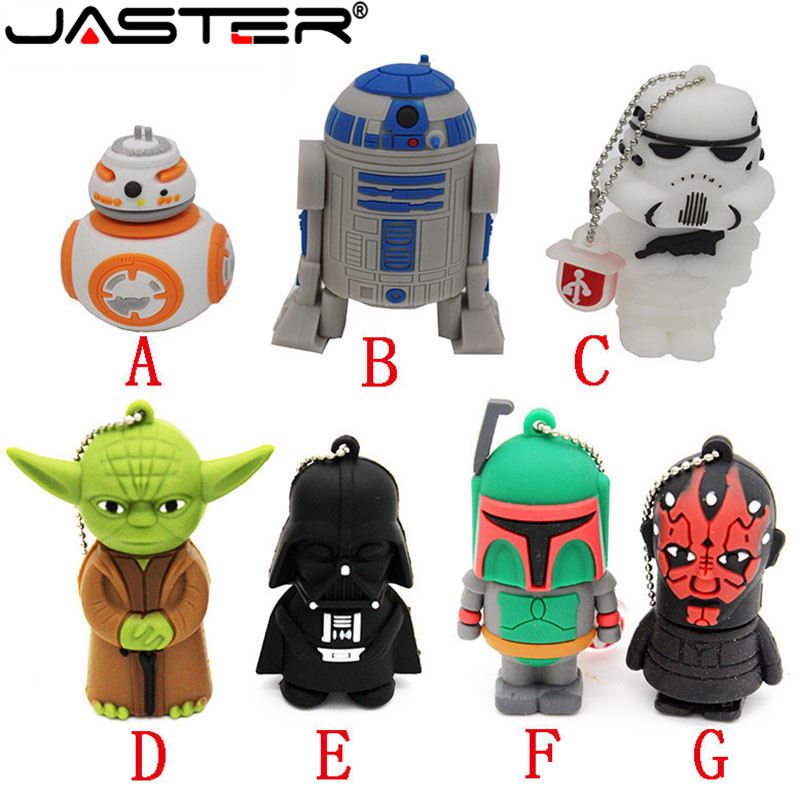 Free Shipping 100% Real Capacity  New Star Wars Cartoon Series Models USB 2.0 Flash Memory Stick 1GB/2GB/4GB/8GB/16GB/32GB