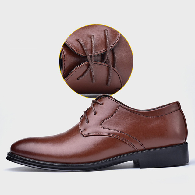 1 Pair Business Men PU Leather Shoes Lace-up Dress Casual Flat Shoes 88 LXX9