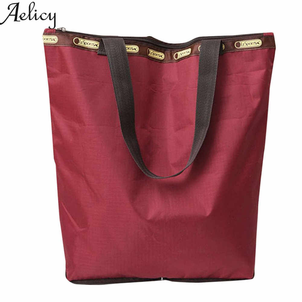 Aelicy 2018 قابلة لإعادة الاستخدام عربة كبيرة كليب إلى عربة البقالة حقائب التسوق القابلة للطي حقيبة محمولة حمالة قابلة للطي حقائب اليد