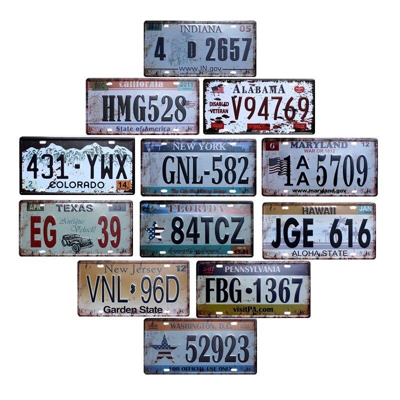 Hohappyme plaques de voiture américaine numéro USA Plaque d'immatriculation Garage Plaque métal étain signe Bar décoration Vintage décor à la maison 15x30cm