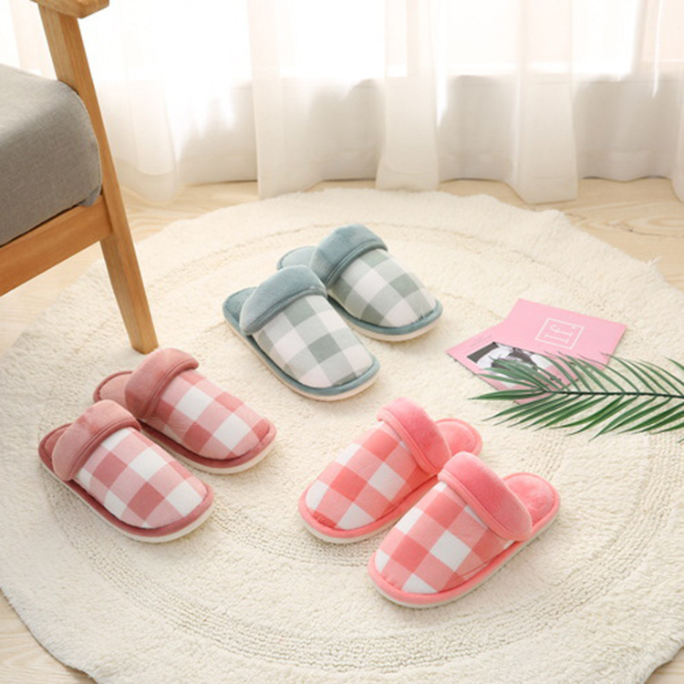 595P plaid slippers lovers warm slippers manufacturers wholesale fashionable home595P plaid slippers lovers warm slippers manufacturers wholesale fashionable home