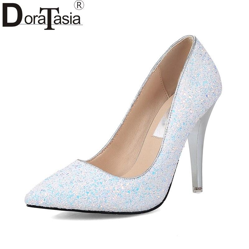 DoraTasia  New Plus Sizes 34-43 Spring Autumn Party Shoes Women Black White Pink Sexy Thin High Heels Fanshion Pumps