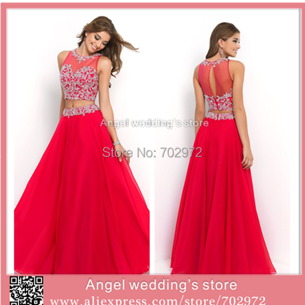 Two Pieces Red Prom Dress Up Gown Separate Beaded Evening Party ...