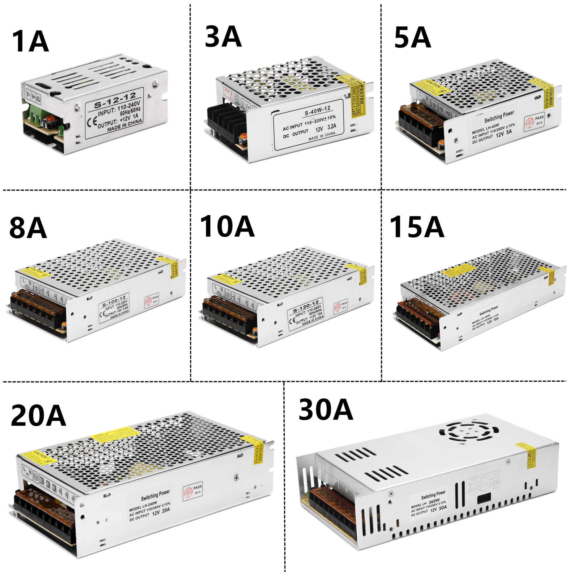 Источник питания светодиодный драйвер переменного тока 220 В в постоянный ток 12 В 1A 3A 5A 8A 10A 15A 20A 12 вольт зарядное устройство понижающий адаптер трансформатор освещения