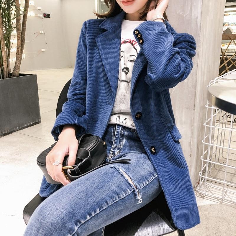 Manches Côtelé 2018 Travail Ol Vintage En Automne Velours Costume Bleu Lâche Petit Blazers Blazer Femmes Veste Formel Longues Royal Feminino Dames Pgg6rp