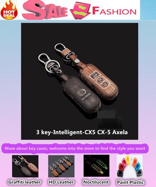 Высокое качество автомобиль стайлинг обложка детектор кожа коровы ключи от машины сумка чехол интеллектуальные / складной граффити специально для Mazda CX5 CX-5 Axela