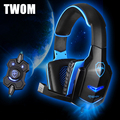 TWOM Computer Bass Gaming Glow Headset with HD Microphone for PC Subwoofer Headband Big Headphones Stereo Earphone 40mm Unit