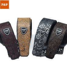 P&P Adjustable Widen Electric/Acoustic /Bass Guitar Strap Belt PU Leather Embossed Style Snakeskin Pattern Accessories