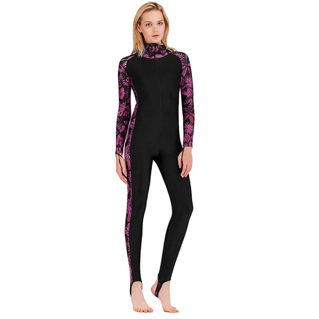 Womail kadın Rahat Moda Tek parça dalgıç kıyafeti Uzun kollu Güneş Koruyucu Sıcak dalgıç kıyafeti Sörf Giyim