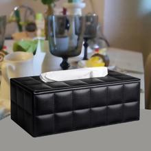 Dsmv sheepskin quality leather tissue box home car pumping paper fashion table napkin