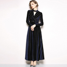 Spring and Autumn New Stand Collar Golden Velvet Dress Cutout Long Sleeve Striped