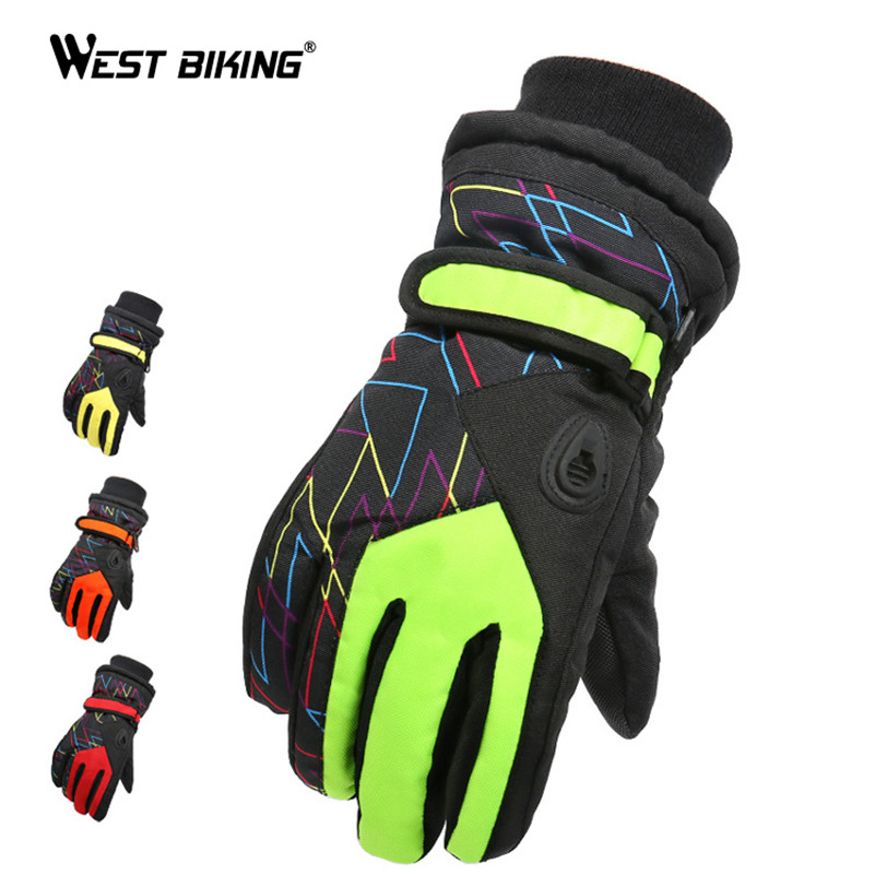 WEST BIKING Children Thicken Warm Fleece Durable Luva Guantes Sports Hiking Guantes Ciclismo Kids Winter Bicycle Cycling Gloves racmmer cycling gloves guantes ciclismo non slip breathable mens