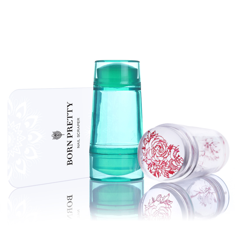 Double Head Clear Gelé Silikon Nail Stamper 2.2cm 2.7cm med Scraper Nail Art Stamp Tool Set för Nail Stamp Plate Tool