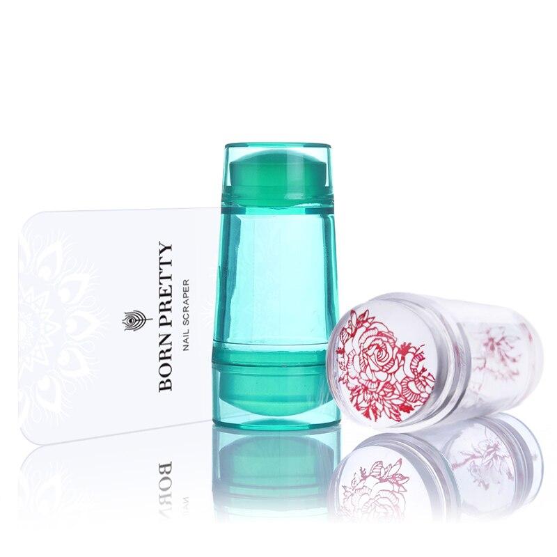 Doble cabeza Jelly Clear Silicone Nail Stamper 2.2 cm 2.7 cm con - Arte de uñas