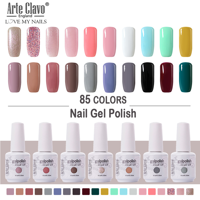 Arte Clavo Nail Gel Polish 8ml UV Gel 85 Colors Nail Polish Lacquer Soak Off Painting Gel LED Hybrid Nail Art Resin Primer 1 PCS