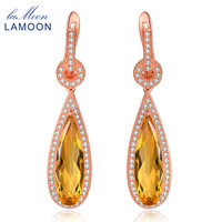 Lamoon Luxury Gemstone Natural Citrine 925 Sterling Silver Drop Earrings S925 Fine Jewelry Rose Gold Plated