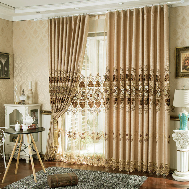 Europe Type Curtains For Living Dining Room Bedroom Embroidered Window  Shade Curtain Finished Product Specials Custom
