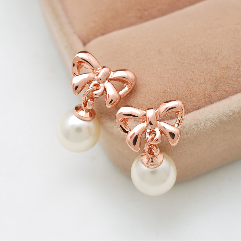 B1285 Jewelry Rose Gold Earrings Bow Pearl Padded Non Pierced Ear Clip In Stud From Accessories On Aliexpress Alibaba