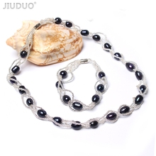 купить JIUDUO Jewellery Set Natural Freshwater Pearl Necklace and Bracelet Wedding Anniversary Gift to Wife Jewlery Sets for Women JS06 по цене 2012.22 рублей
