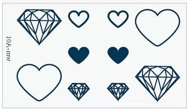 Sex Products Temporary Tattoo For Man Woman Waterproof Stickers makeup maquiagem make up Diamond heart tattoo WM075
