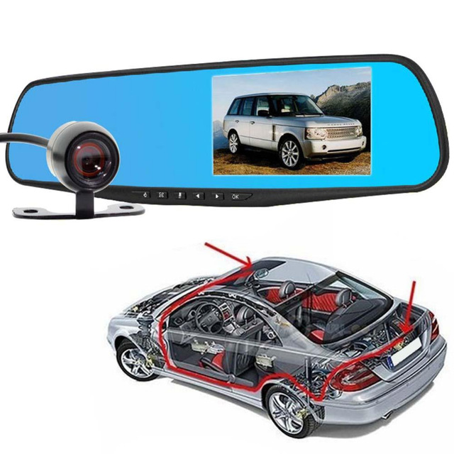 2016 4 3 Inch 1080P Dual Lens car video Mirror Camera Video Recorder Dash recorder Camera