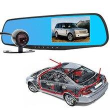 2016 4.3 Pulgadas 1080 P de Doble Lente video del coche del Espejo + cámara de Vídeo Grabador Dash Cámara grabadora de Espejo Retrovisor Del Coche DVR retrovisor