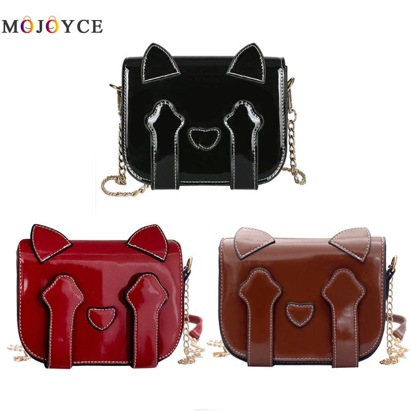 Women Cute Cat Shape Chain Shoulder Bag Patent PU Leather Crossbody Handbag Fashion Designer Causal Daily Shopping Tote Bag