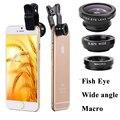Las lentes en para iphone 5s 6 s 7 7 plus 3 en 1 universal del teléfono móvil clip de lentes de cámara de lentes de ojo de pez gran angular macro