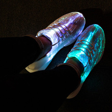 SHOEMER Summer New Led Fiber Optic Shoes for girls boys men women USB Recharge glowing Sneakers Man light up shoes Size 25-46