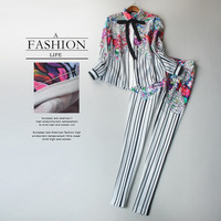 Women Summer Spring Fashion XXL Runway Casual 2 Pieces Pants Set Blouse Trousers Unique Floral Striped