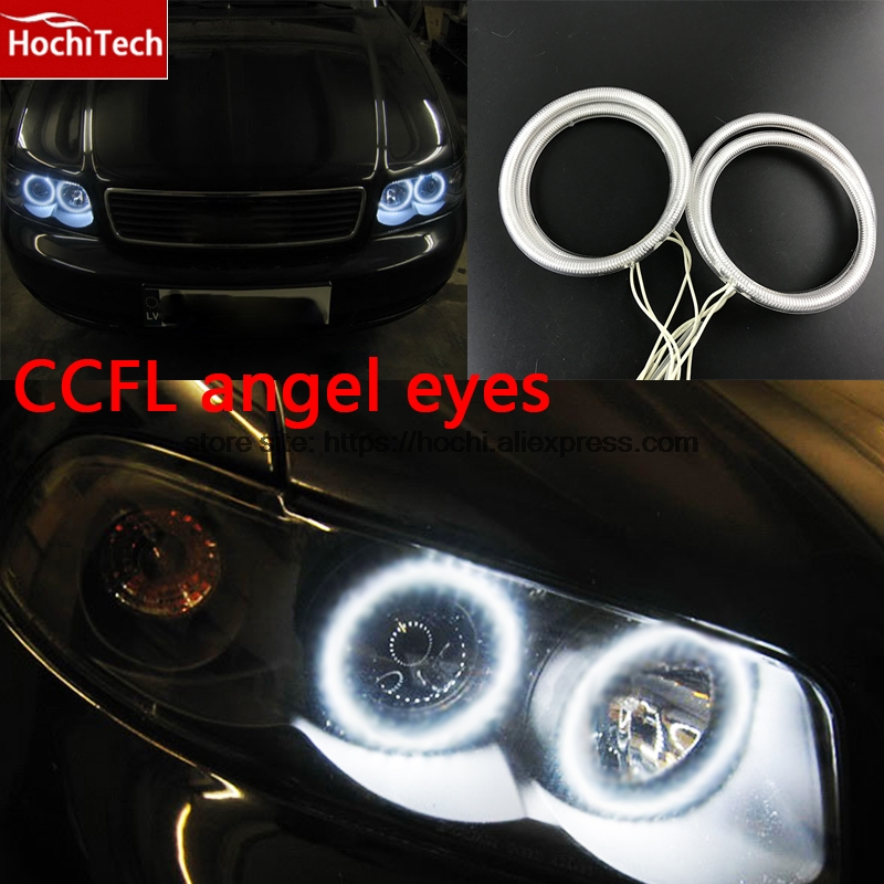 все цены на HochiTech WHITE 6000K CCFL Headlight Halo Angel Demon Eyes Kit angel eyes light for audi A4 B6 2000 2001 2002 2003 2004 205 2006