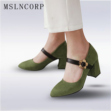 Plus Size 34-43 New Women Shoes Mary Jane Ladies Square High Heels Party Wedding Thick Pumps Lady Fashion Footwear