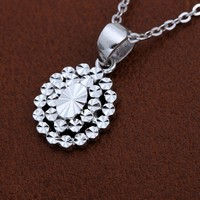 Glitzy Platinum PT950 White Gold Pendant Diamond Engrave Charm Necklace for Women Female Girl Gift Fine Wedding Jewelry