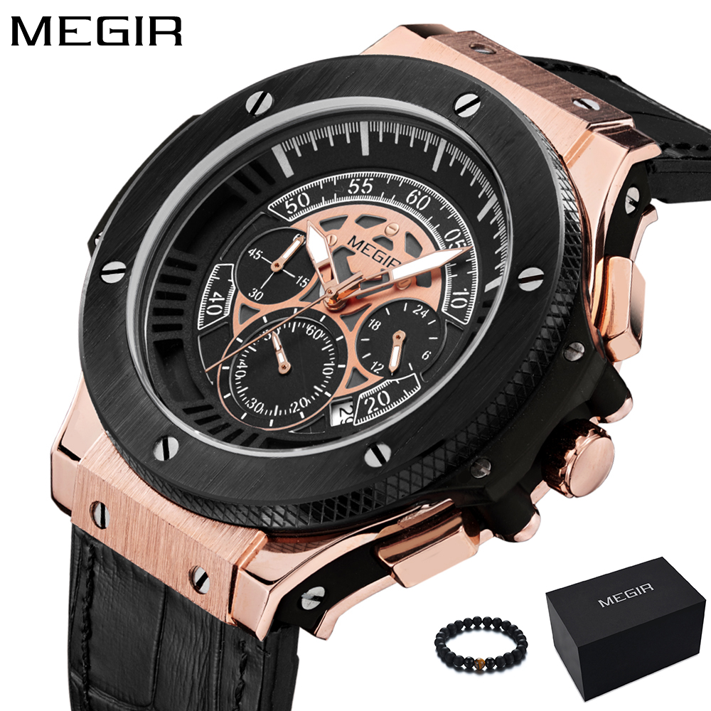 Megir Mens Watches Men Clock Luxury Brand Quartz Sport Watch Military Silicone Rose Gold Chronograph Fashion Wristwatch For Men цена