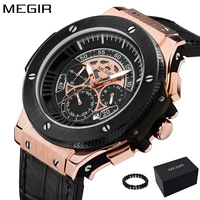 Megir Mens Watches Men Clock Luxury Brand Quartz Sport Watch Military Silicone Rose Gold Chronograph Fashion Wristwatch For Men