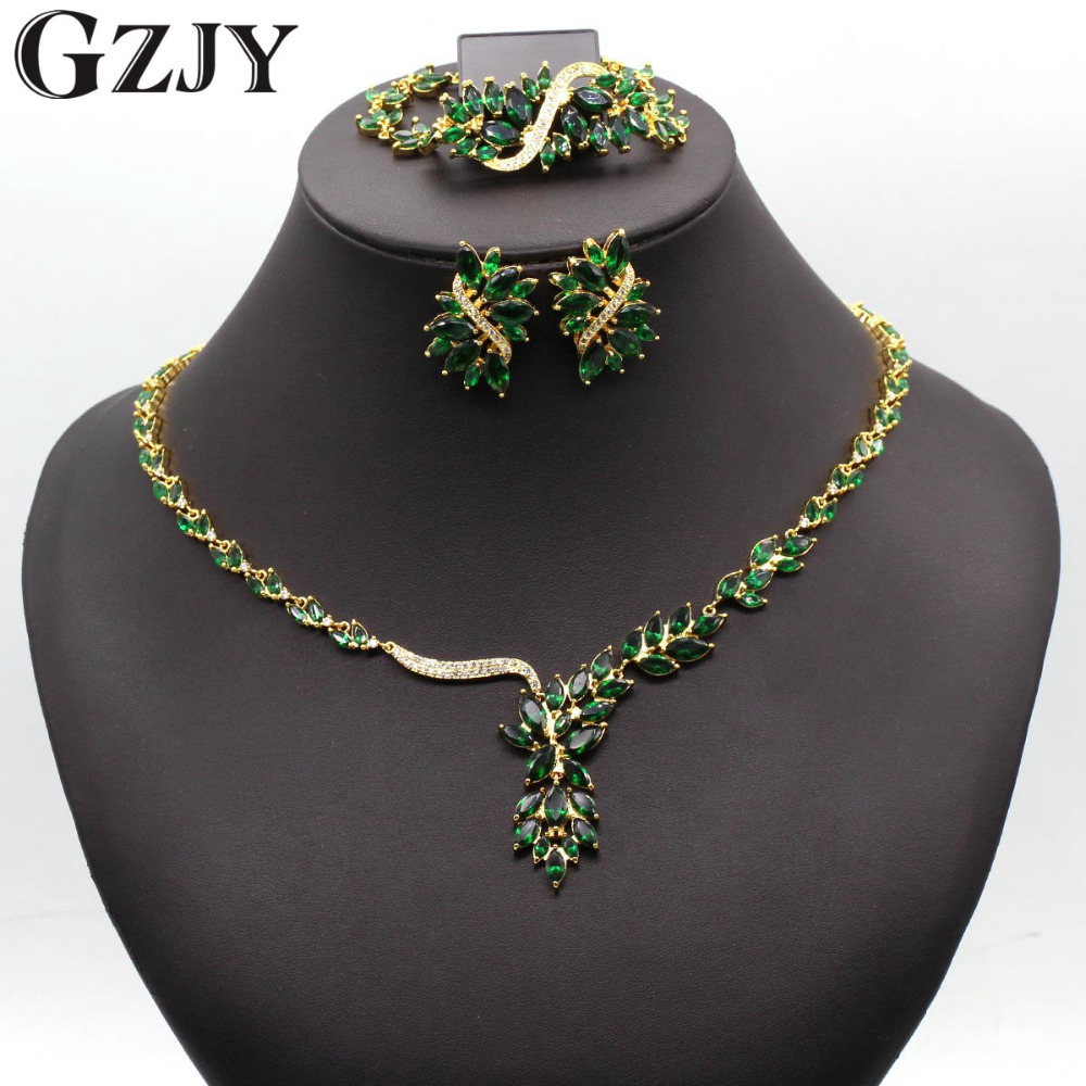 GZJY Gorgeous Wedding Jewelry Sets Multicolor Zircon Necklace Ring Bracelet Earring Gold Color For Women Wedding Birthday Gift gorgeous faux crystal oval bracelet with ring for women