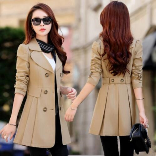 Trench   Coat for Women 2018 Casual 6 Colors Turn-down Collar Slim Fit Double Breasted Spring Ladies Coat Plus Size 3XL 4XL