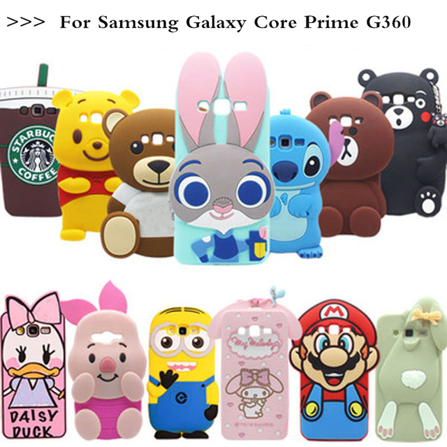 finest selection 2ea53 4322c US $3.35 16% OFF 3D Minions Phone Silicone soft Case Cover For Samsung  Galaxy Core Prime G360 G360H G361 G361F G3606 G3608 G3609 Cases Gel  Shell-in ...