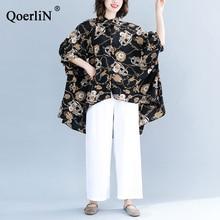 QoerliN Harajuku Irregular Blouse Women Turn-Down Collar Loose Casual Black Printed Single-Breasted Shirts Tops Female Big Size