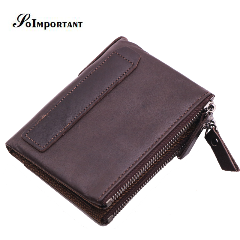 Genuine Leather Wallet Purse Crazy Horse Men Wallets Small Coin Purse Portomonee Clutch Male Zipper Mini Walet Bifold Carteira simline vintage genuine crazy horse cow leather men men s long hasp wallet wallets purse zipper coin pocket holder with chain