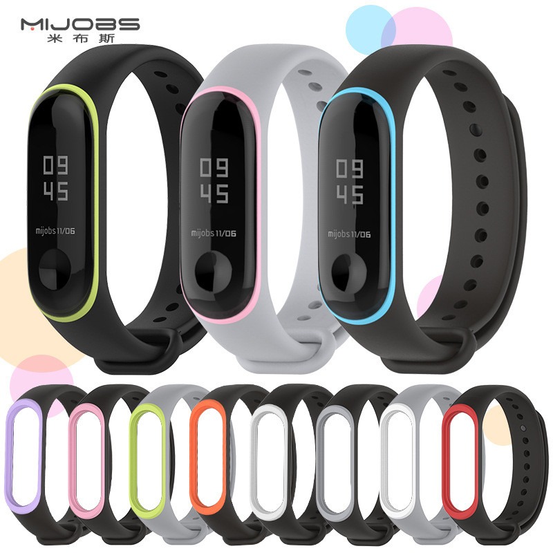 Mijobs Mi band 3 strap Silicone wrist Bracelet Strap Miband 3 Colorful Strap Wristband Smart Band mi band3 For Xiaomi Mi Band 3 mijobs mi band 2 strap bracelet wrist strap mi band2 smart band strap miband 2 wristband black magnet metal for xiaomi mi band 2