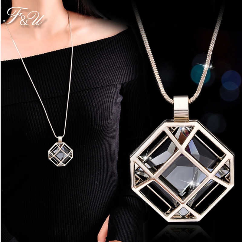 F&U  Octagon Shape Cage Rhinestone  Inside  Fashion Pendant  Long  Chain Necklace Jewelry Charming For Women In Winter