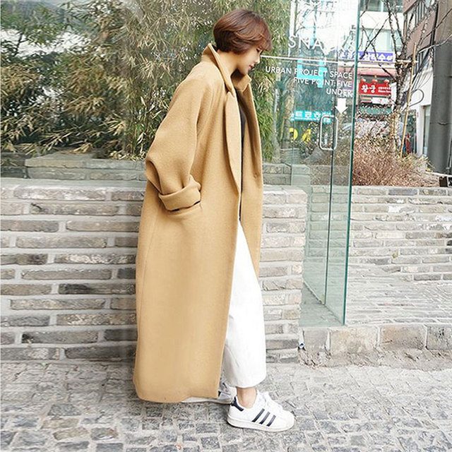 619e9680bc5ca Women Wool Coats 2016 Winter Thick Cashmere Coat Women Beige Coat Trench Wool  Coats Women Plus Size Elegant Long Jacket Black