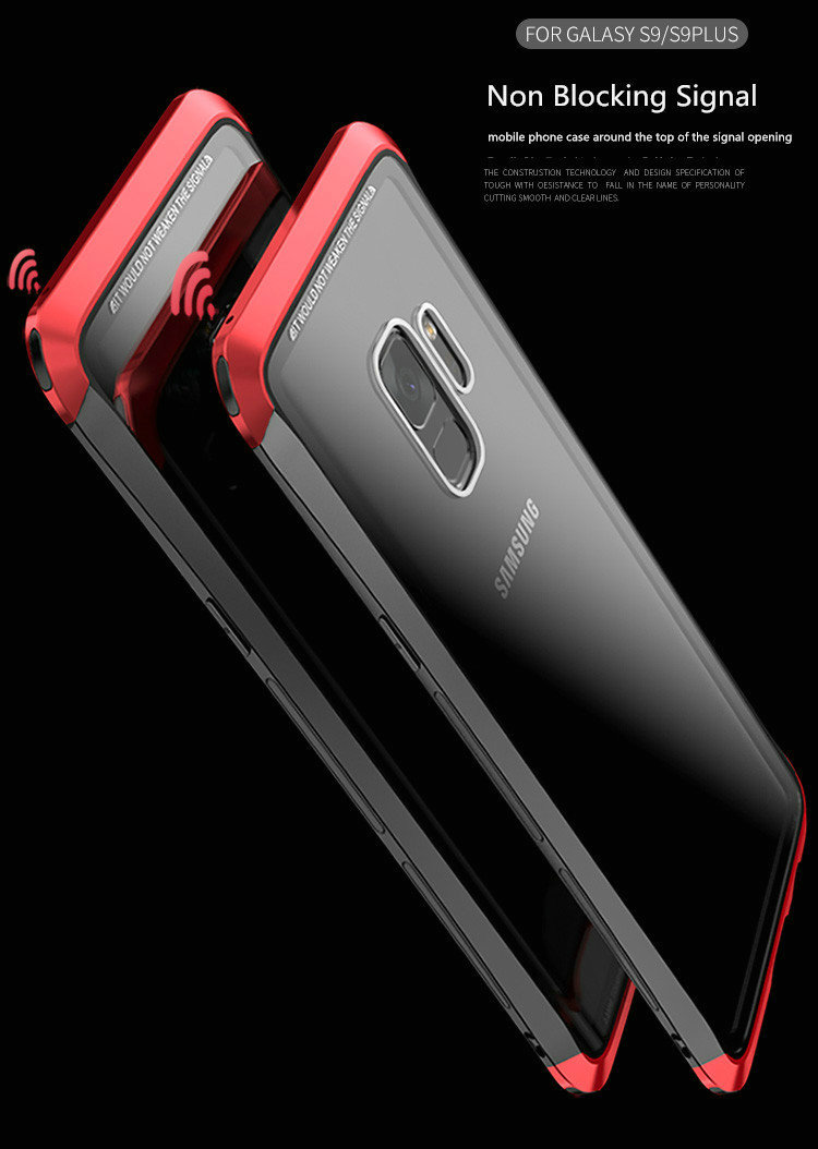 LUPHIE Case For Samsung Galaxy S9 Plus Metal Bumper Clear Tempered Glass Back Cover  (15)